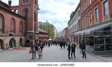 Oslo, Norway -05-11-2019: Karl Johan Street in the middle of Oslo, people walking by