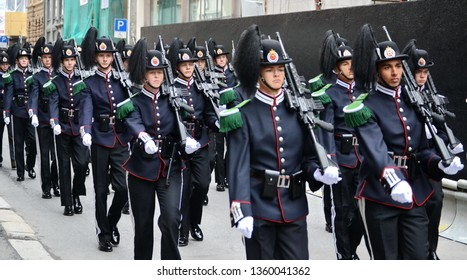 Oslo, Norway -05-12-2014: His Majesty The King's Guards walking on a parade in King's Street.