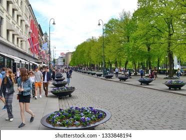 Oslo, Norway -05-12-2018: People walking in Karl Johans Street in May