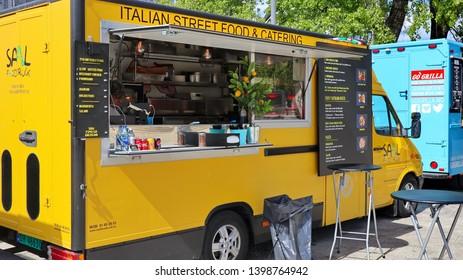 Oslo, Norway -05-12-2019: Italian street food truck in the Oslo Harbor in springtime