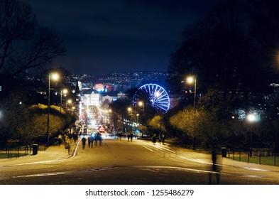 Oslo, Norway - 1 December 2018: View at Karl Johans street at night from the Royal Palace