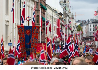 Oslo, Norway, 17th May 2015. The Norwegian Royal family greet groups of school children to celebrate the 17th May National Constitution day.