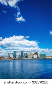 OSLO, NORWAY - 21 JUNE, 2015: The modern business district in Oslo on a background of blue sky and the blue water of the sea, Norway, Scandinavia