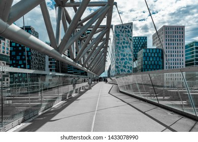 """OSLO - NORWAY 23. JUNE 2019- Street view over the famous architecture of """"barcode"""" Oslo, Norway"""