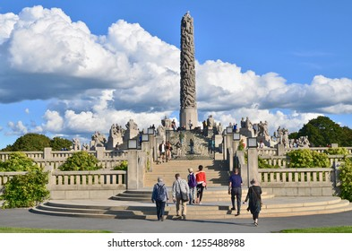 Oslo, Norway - 25 August 2018: Famous Vigeland Park in Oslo