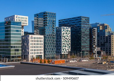 """OSLO, NORWAY - 27 FEB 2016: Business buildings known as """"Barcode"""" in downtown, one of city's symbols"""