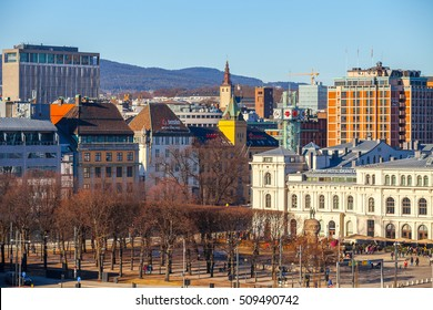 OSLO, NORWAY - 27 FEB 2016: Downtown panoramic view from Akershus fort