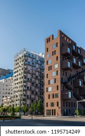 OSLO, NORWAY - 28 JULY, 2018: contemporary houses and city street at Barcode district, Oslo