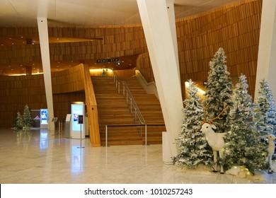 Oslo, Norway - 29 November 2017 - Interior of the Oslo Opera House (Norwegian: Operahuset),  home of The Norwegian National Opera and Ballet, and the national opera theatre in Norway.