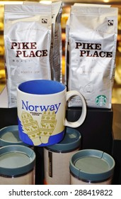 OSLO, NORWAY -30 MAY 2015- Starbucks City Mugs are collectible souvenir coffee mugs available in Starbucks stores throughout the world representing the city where they are for sale.