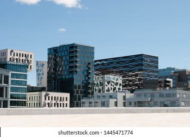 Oslo, Norway - 5th July 2019: Picture of Barcode district.