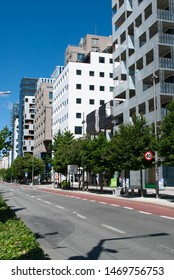 Oslo, Norway - 5th July 2019: Picture of the street of Barcode district. Modern business area.