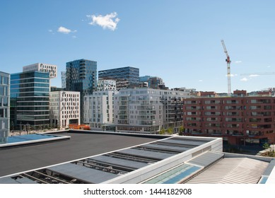 Oslo, Norway - 5th July 2019:View of Barcode buildings.