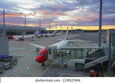 OSLO, NORWAY -9 JUL 2018-  The Oslo Lufthavn Airport Gardermoen (OSL) is the main airport in Norway and a hub for the low cost airline Norwegian Air Shuttle (DY).