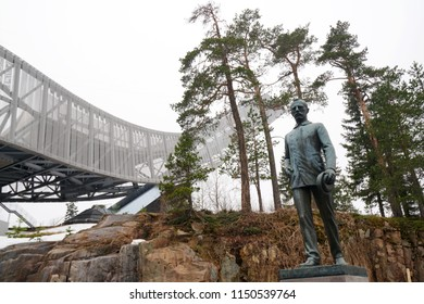 OSLO, NORWAY - APRIL 16 - 2018: Holmenkollen ski jump in summer