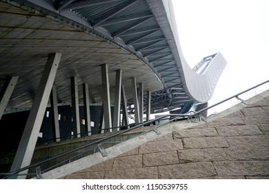 OSLO, NORWAY - APRIL 17 - 2018: Holmenkollen ski jump in summer