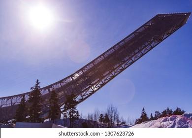 Oslo, Norway - April 2 2018: Holmenkollen Ski Jump Tower