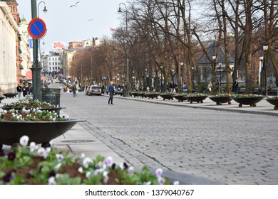 Oslo, Norway: April 2019 - Karl Johans gate street in Oslo. Karl Johans gate is the main street of the city. Connects Oslo Central Station, the main railroad station in Oslo, and Royal Palace.
