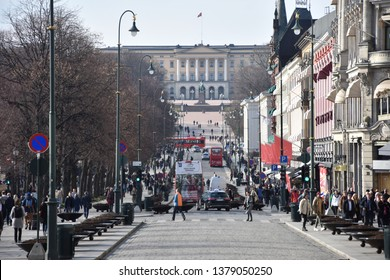 Oslo, Norway: April 2019 - Karl Johans gate street in Oslo. Karl Johans gate is the main street of the city. Connects Oslo Central Station, the main railroad station in Oslo, and Royal Palace