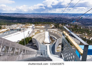 OSLO, NORWAY - APRIL 26, 2018: Holmenkollbakken is a large ski jumping hill located at Holmenkollen in Oslo, Norway.