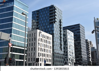 Oslo, Norway: April 3, 2019 - Oslo street view - Norway capital city with Bjorvika modern district - Image