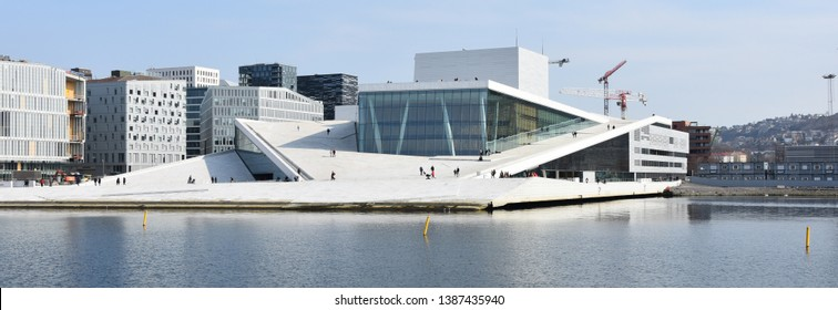 Oslo, Norway: april 4, 2019 - The Opera House in Oslo, Norway. This is a home of the Norwegian National Opera and Ballet, and the national opera theatre in Norway.