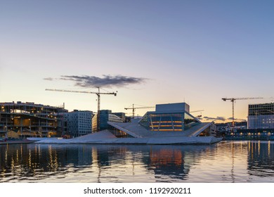 OSLO, NORWAY - APRIL 6, 2018: Oslo Norway, sunrise city skyline at business district and Oslo Opera