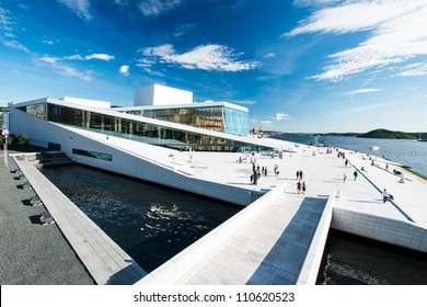 OSLO, NORWAY - AUGUST 11: View on a side of the National Oslo Opera House on August 11, 2012, which was opened on April 12, 2008 in Oslo, Norway