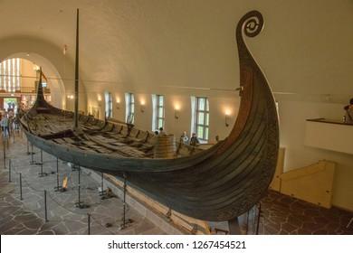 Oslo Norway - August 15, 2018: Viking drakkar in the Viking Museum in Oslo Norway.