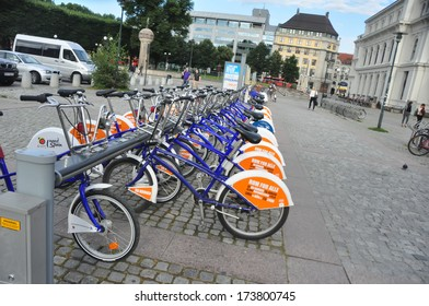 OSLO, NORWAY - AUGUST 16: Bicycles near Central Railway Station on August 16, 2012 in Oslo, Norway. There are approx. 5000 bikes to be found in the center.