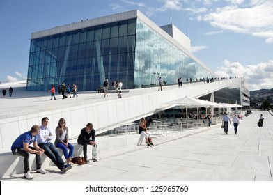 OSLO, NORWAY - AUGUST 17: View on a side of the National Oslo Opera House on August 17, 2012 in Oslo, Norway, wich was opened on April 12, 2008.