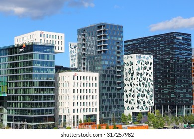 OSLO, NORWAY - AUGUST 2, 2015: Architecture of Bjorvika district in Oslo. It is a part Fjord City, major urban redevelopment project for Oslo for 2000s and 2010s.