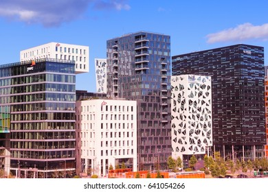 OSLO, NORWAY - AUGUST 2, 2015: City skyline of Bjorvika district in Oslo. It is a part Fjord City, major urban redevelopment project for Oslo for 2000s and 2010s.