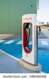Oslo, Norway - August 20, 2019: Tesla Super Charging station on Stockdale Hwy and the 5 fwy. Tesla Supercharger stations allow Tesla cars to be fast-charged at the network within an hour.