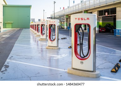 Oslo, Norway - August 20, 2019: Tesla Supercharger station with 10 charging stations. Supercharger stations allow Tesla cars to be fast-charged at the network within a hour.