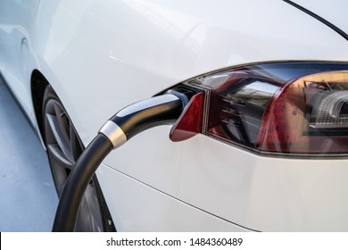 Oslo, Norway - August 20, 2019: Tesla Supercharger Station. The Supercharger offers fast recharging of the Model S and Model X electric vehicles XI