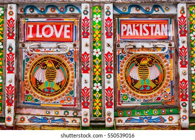OSLO, NORWAY - AUGUST 20: Detailed decorations on Pakistani truck on 20. 8. 2016 in Oslo, Norway. The truck is displayed during annual Mela festival. Festival is focused on world cultures.