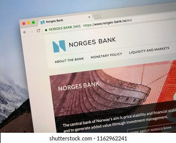 Oslo, Norway - August 23, 2018: Website of Norges Bank, the central bank of Norway.
