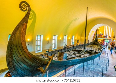 OSLO, NORWAY, AUGUST 24, 2016: Interior of the Viking ship museum in Oslo, Norway
