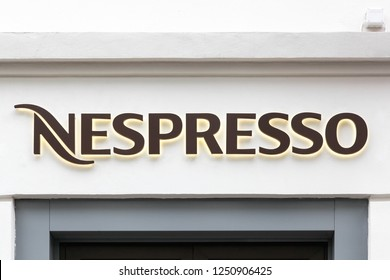 Oslo, Norway - August 27, 2018: Nespresso logo on a store. Nespresso is the brand name of Nestle Nespresso., an operating unit of the Nestle Group, based in Lausanne, Switzerland