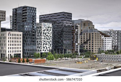 OSLO, NORWAY - AUGUST 28: Barcode Project on August 28, 2016 in Oslo, Norway. Barcode Project consists of a row of new multi-purpose high-rise buildings and was completed in 2014.