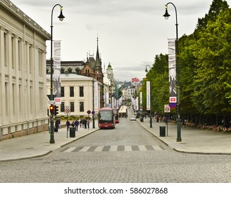 OSLO, NORWAY - AUGUST 28: Karl Johans Gate on August 28, 2016 in Oslo, Norway. Karl Johans gate is the main street of the city of Oslo, Norway.
