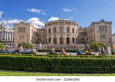 OSLO, NORWAY - AUGUST 28: The Storting is supreme legislature of Norway, pictured on August 28, 2014. Parliament was established by Constitution  Norway in 1814 and is designed by Emil Victor Langlet.
