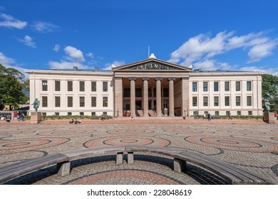 OSLO, NORWAY - AUGUST 28: Oslo University main building on August 28, 2014. The university has approximately 27,700 students and employs around 6,000 people