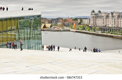 OSLO, NORWAY - AUGUST 28: view from the roof of the Oslo Opera House on August 28, 2016 in Oslo, Norway. The Oslo Opera House is the home of The Norwegian National Opera and Ballet.