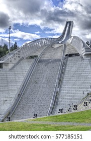 OSLO, NORWAY - AUGUST 29: Holmenkollbakken ski jump on August 29, 2016 in Oslo, Norway. Holmenkollbakken is a large (134m) ski jumping hill and the arena has capacity for 70,000 spectators.