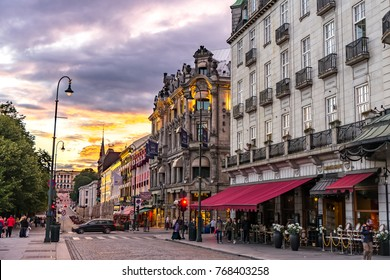 Oslo, Norway - August 8, 2017: View of Karl Johans gate, the main street of the city of Oslo.