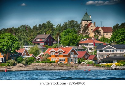 Oslo, Norway. Beautiful city architecture and colors in summer season.