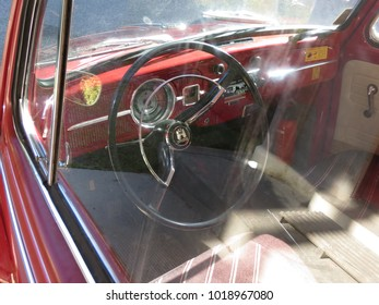OSLO, NORWAY - CIRCA AUGUST 2017: red Volkswagen Beetle car interiors