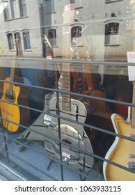 OSLO, NORWAY - CIRCA AUGUST 2017: Dobro guitar on display in a store in Oslo